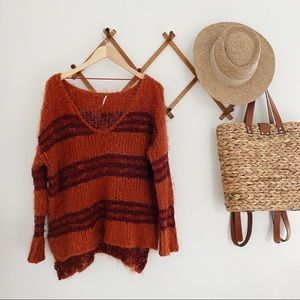 Free People Orange and Maroon Striped Sweater